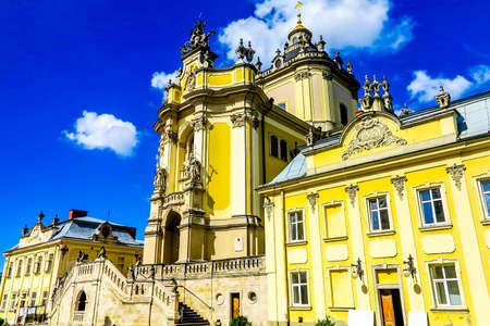 Lviv Saint George's Cathedral Church Entrance Gate Low Angle Side View 스톡 콘텐츠