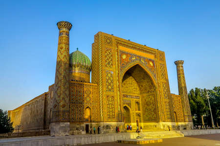 Samarkand Registon Square Ensemble Sherdor Madrasa Side Viewpoint at Sunset