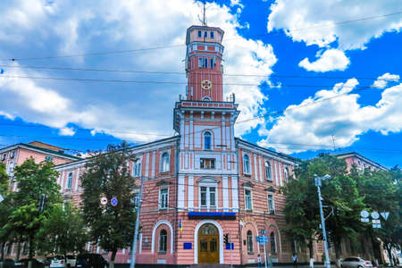 Kiev Old Town Fire Watchtower at Street Corner Frontal View