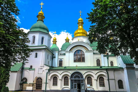 Kiev Sophia's Cathedral Frontal Main Gate Entrance View with Blue Sky White Clouds Background