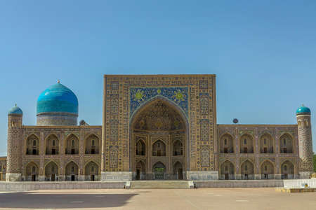 Samarkand Registon Square Ensemble Tilya Kori Gilded Madrasa Frontal Viewpoint Stock Photo
