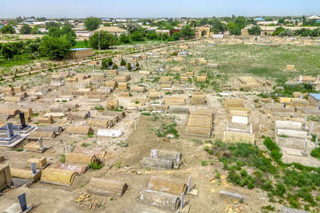 Bukhara Old City Chor Bakr Necropolis Graveyard High Angle Viewpoint Stock Photo