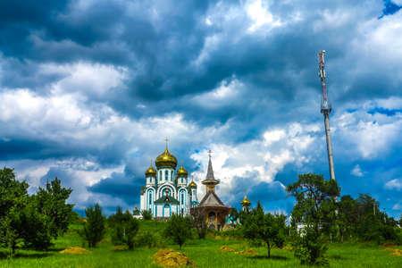 Mukachevo Krasnogorsky Monk Monastery Panoramic View with Cloudy Sky Background 版權商用圖片