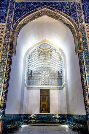 Samarkand Gur-e Amir Complex Mausoleum Exterior Muqarna Honeycomb Stalactite Vaulting at Night