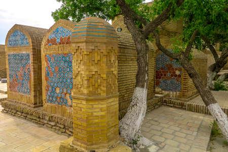 Bukhara Old City Chor Bakr Necropolis Coffins with Bricks and Blue Tiles Ornaments