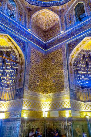 Samarkand Gur-e Amir Complex Mausoleum Ornamented Corner