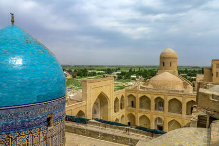 Bukhara Old City Chor Bakr Necropolis Blue Tiles Ornamented Roof Dome Viewpoint