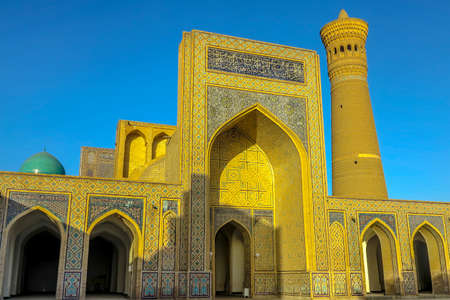 Bukhara Old City Po-i-Kalyan Complex Courtyard Exit Gate Iwan Side Viewpoint at Sunset