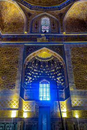 Samarkand Gur-e Amir Complex Mausoleum Illuminated Facade with Muqarna Honeycomb Stalactite Vaulting 에디토리얼