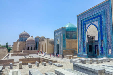Samarkand Shah-i-Zinda Necropolis Ensemble Blue Tiles Ornament Facade Tombs and Cupolas
