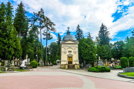 Lviv Famous Historic Lychakiv Łyczakowski Cemetery for Middle and Upper Classes with Ornamented Mausoleums