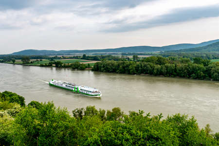 Devin Castle High Angle View of Ship Crossing the Danube River and Breathtaking Picturesque Landscape Sight at Background
