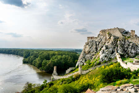 Devin Castle Fortified Walls and Rocks with Breathtaking Picturesque Landscape View of the Danube River