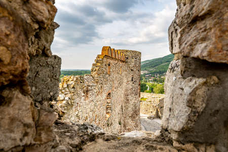 Devin Castle Window View of Ruined Fortified Wall and Breathtaking Picturesque Blue Cloudy Sky at Background