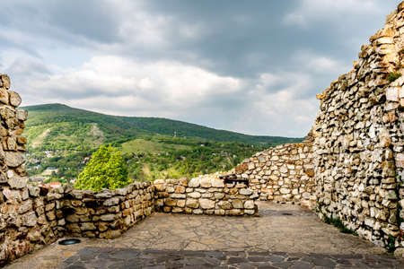 Devin Castle View of Ruined Fortified Wall with Breathtaking Picturesque Landscape and Blue Cloudy Sky Stok Fotoğraf