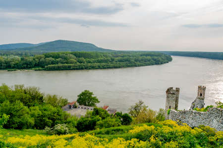 Devin Castle Two Watchtowers High Angle View with Breathtaking Picturesque Landscape Danube River Sight at Background