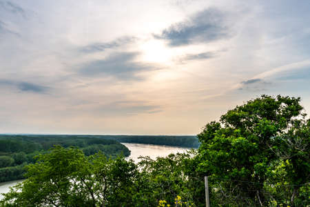 Devin Castle High Angle View of Danube River and Breathtaking Picturesque Landscape Sight at Background Stok Fotoğraf