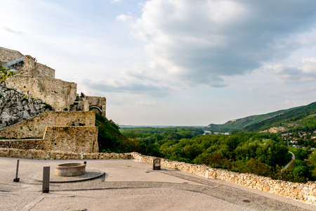 Devin Castle Fortified Walls Rocks with Tourists and Water Well at the Courtyard and Breathtaking Picturesque Landscape Background View