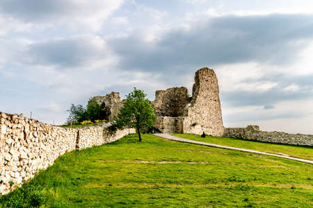 Devin Castle Fortified Walls Rocks with Trees on a Hill and Breathtaking Picturesque Landscape View Stok Fotoğraf