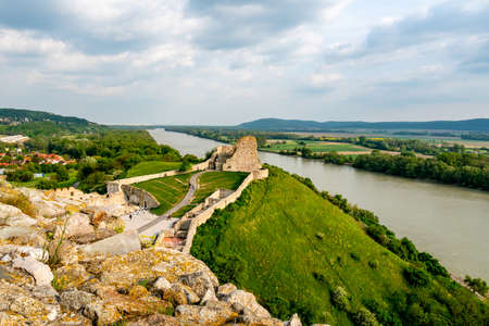 Devin Castle Watchtower High Angle View with Breathtaking Picturesque Landscape Danube River Sight at Background