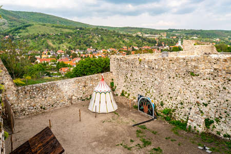 Devin Castle with White Colored Middle Ages Shelter Centered at Courtyard with Town View at Background Stok Fotoğraf