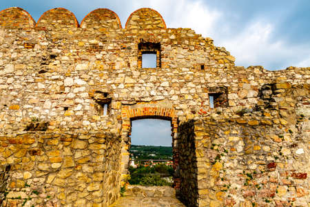 Devin Castle Ruined Fortified Wall View with Windows and Breathtaking Picturesque Blue Cloudy Sky at Background