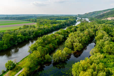 High Angle View of the Morava River from Devin Castle with Breathtaking Picturesque Landscape Sight