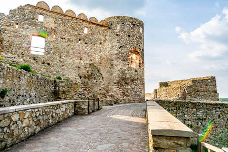 Devin Castle Main Paved Stone Bridge Leading to the Ruined Fortified Walled Entrance Stok Fotoğraf