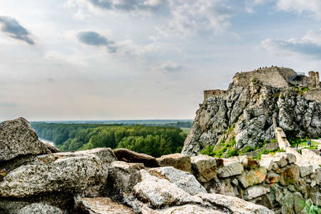 Devin Castle Fortified Walls and Rocks with Walking Tourists Breathtaking Picturesque Landscape View