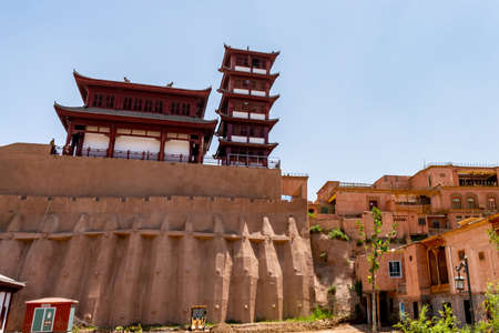 Kashgar Renovated Old City Chinese Architecture Pagoda Pavilion Low Angle View on a Sunny Blue Sky Day Zdjęcie Seryjne