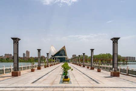 Kashgar Donghu Park Urban Planning Exhibition Center Building with Picturesque Blue Sky Background