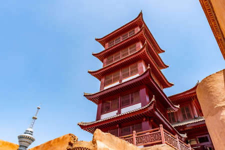 Kashgar Renovated Old City with Chinese Architecture Pagoda Pavilion on a Sunny Blue Sky Day