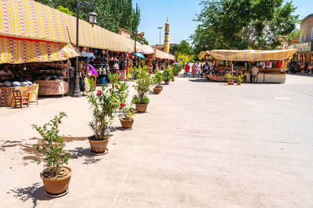 Kashgar Wustanbowie Millennium Old Street for Shopping near Id Kah Mosque with Souvenir Shops on a Sunny Blue Sky Day