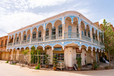 Kashgar Renovated Old City Uyghur Central Asian Blue Colored Architecture Building on a Sunny Blue Sky Day