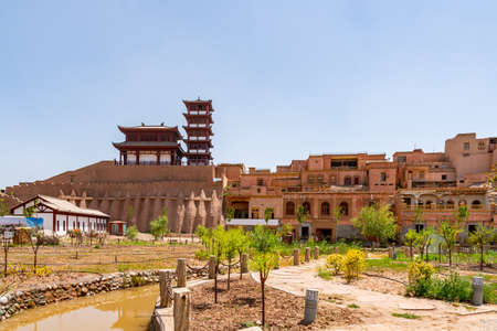 Kashgar Renovated Old City Chinese Architecture Pagoda Pavilion with Park View on a Sunny Blue Sky Day