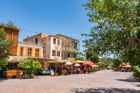 Kashgar Renovated Old City Wustanbowie Millennium Shopping Street on a Sunny Blue Sky Day