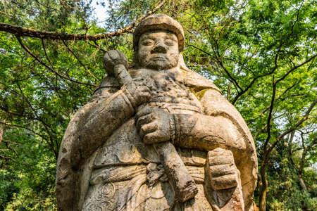 Nanjing Ming Xiaoling Mausoleum Elephant Road Spirit Way Statue of a Military Official Closeup View Editorial