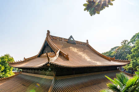 Wuhu Anhui Guangji Buddhist Monastery Temple Hall of Four Heavenly Kings Roof View on a Sunny Blue Sky Day