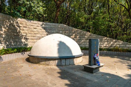 Wuhu Anhui Zheshan Gongyuan Park Chinese Traditional Dianes Grave Tomb Monument Side View with Flowers