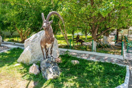 Altyn Emel National Park Ibex Sculpture View at the Visitors Office in Basshi on a Sunny Blue Sky Day Reklamní fotografie