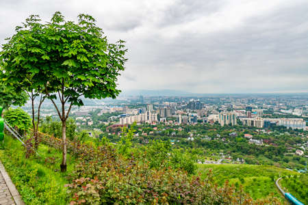 Almaty Kok Tobe Blue Hill Mountain Park Breathtaking High Angle View of the Cityscape on a Foggy and Cloudy Day