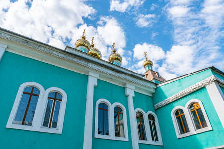 Almaty Green Colored Russian Orthodox Christian Cathedral of Saint Nicholas Low Angle View on a Sunny Blue Sky Day Reklamní fotografie