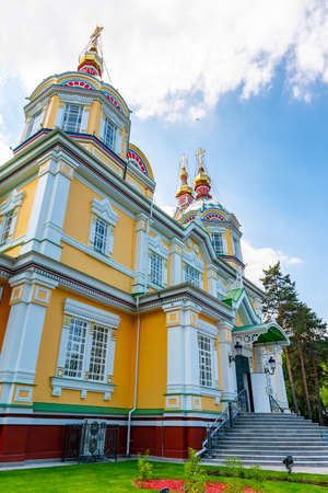 Almaty Russian Orthodox Christian Zenkov Ascension Cathedral of the Lord Low Angle View in Panfilov Park on a Sunny Blue Sky Day