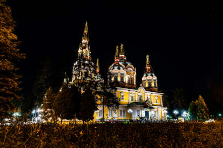 Almaty Russian Orthodox Christian Zenkov Ascension Cathedral Low Angle View in Panfilov Park at Late Night