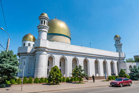 Almaty Tsentralnaya Central Mosque Breathtaking Picturesque View on a Sunny Blue Sky Day