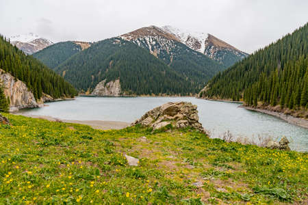 Saty Kolsai Lakes Breathtaking Picturesque Panoramic Landscape High Angle View on a Cloudy Blue Sky Day