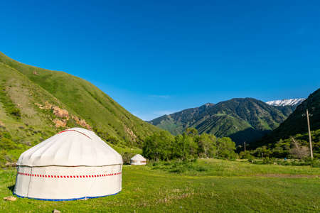 Esik Issyk Turgen Gorge Picturesque Breathtaking View of a Public Yurt Camp on a Sunny Blue Sky Day