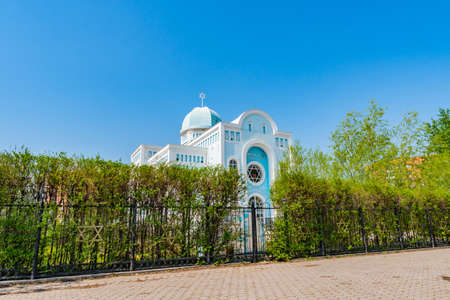 Nur-Sultan Astana Jewish Beit Rachel Synagogue Picturesque Frontal View on a Sunny Blue Sky Day Stock Photo