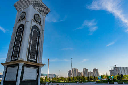 Nur-Sultan Astana Hazrat Sultan Mosque Picturesque Breathtaking Minaret View on a Sunny Cloudy Blue Sky Day