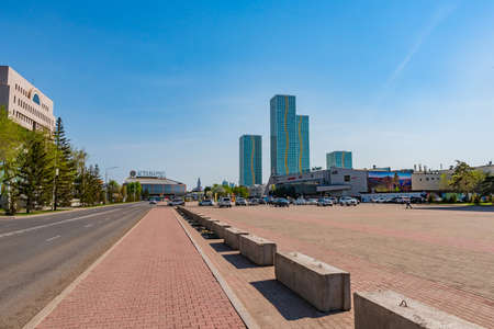 Nur-Sultan Astana Saryarka Square with View of the Concert Hall at Background on a Sunny Blue Sky Day